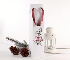 Boîte en carton à vin avec impression de Noël