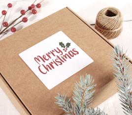 Étiquette carrée Joyeux Noël