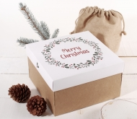 Boîte carrée avec couvercle et impression de Noël