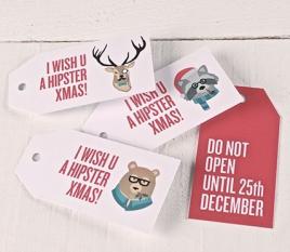 Étiquettes cadeaux imprimées Hipster Xmas