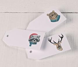 Étiquettes cadeaux imprimées Animaux Hipsters