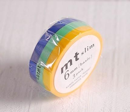 3 washi tape aux couleurs primaires