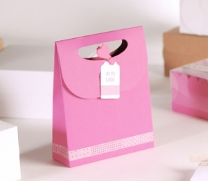 "Sac cadeau rose ""with love"""
