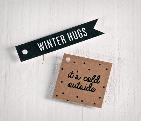 Kit etiquetas regalo impresas Winter Hugs