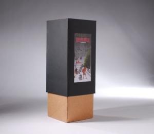 Élégante boîte cadeau bicolore pour bouteille