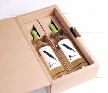 Boîte avec anse pour deux bouteilles