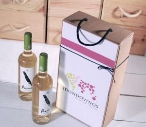 Boîte décorée pour deux bouteilles
