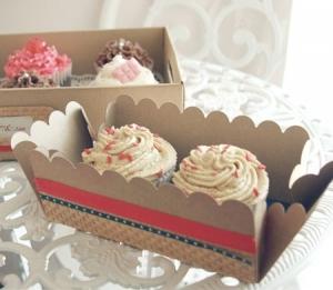 Boîte Décorée avec du Washi tape pour 2 Cupcakes