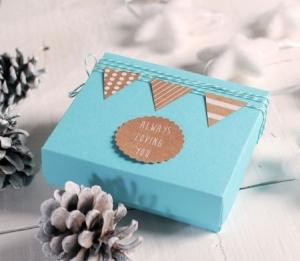 Boîte Turquoise à Biscuits Décorés