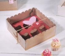 Boîte carton à 4 cupcakes