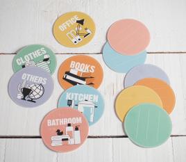 Étiquettes d'emballage rondes