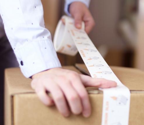 Ruban adhésif imprimé pour déménagements