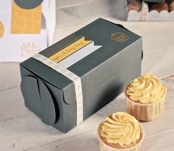 Boîte grise pour deux cupcakes