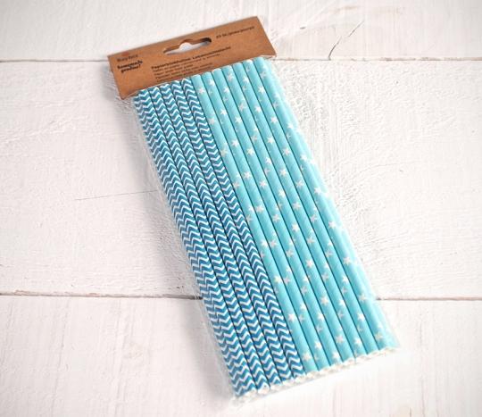 Pailles en papier décoré bleu
