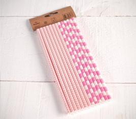 Pailles en papier rose