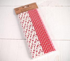 Pailles rouges en papier décorées