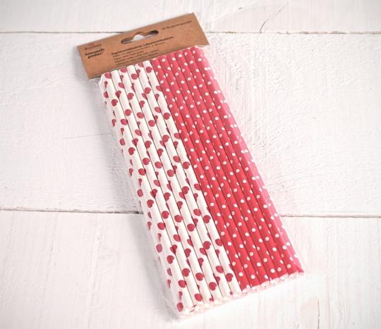 Pailles en papier décoré rouge
