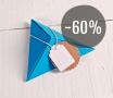 Kit de 4 boîtes triangulaires en carton de couleurs avec des accessoires