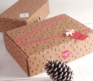 Boîte rectangulaire avec des arbres de Noël