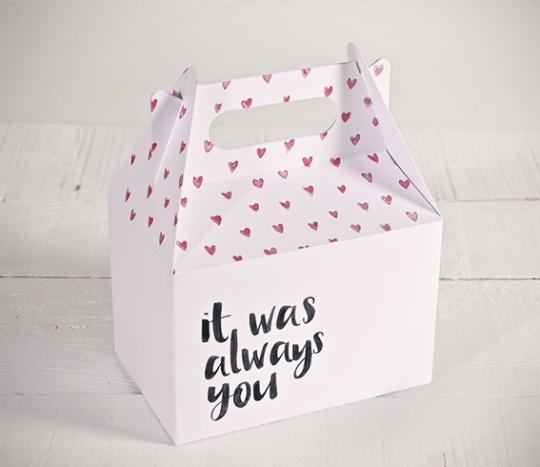 "Boîte imprimée de coeurs ""Always you"""