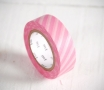 Washi tape rayures blanches et roses