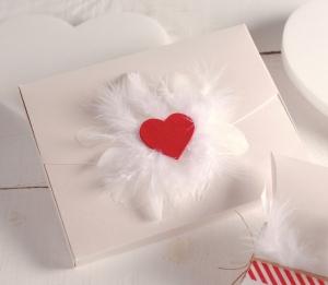 Boîte avec un cœur et des plumes !