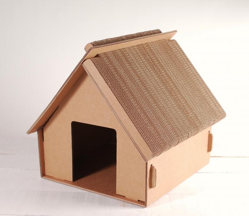 Petite maison en carton pour enfants ou chats jouets en carton - Maison en carton pour chat ...
