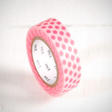 Washi tape à pois roses fluo