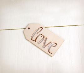 Étiquette Love en bois