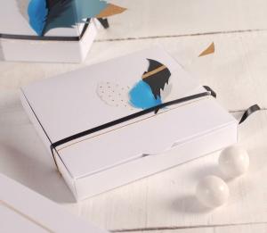 Boîte cadeau plane avec des plumes