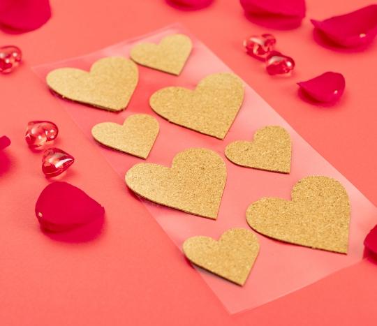 Coeurs autocollants en liège
