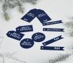 Étiquettes bleues de Noël