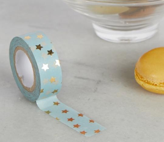 Washi tape bleu ciel avec étoiles dorées