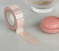 Washi tape rose à quadrillage doré