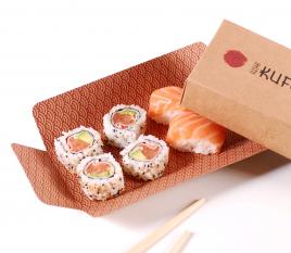 Boîte en carton pour sushis avec range-baguettes