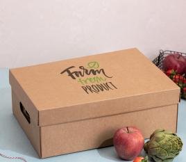 Caisse en carton avec couvercle pour légumes