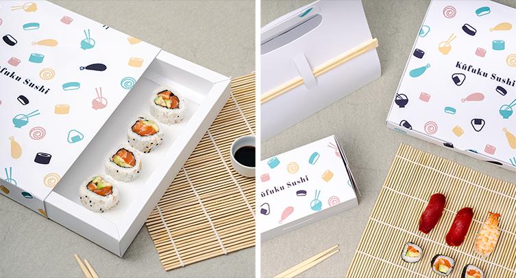boîte de différentes tailles de sushi