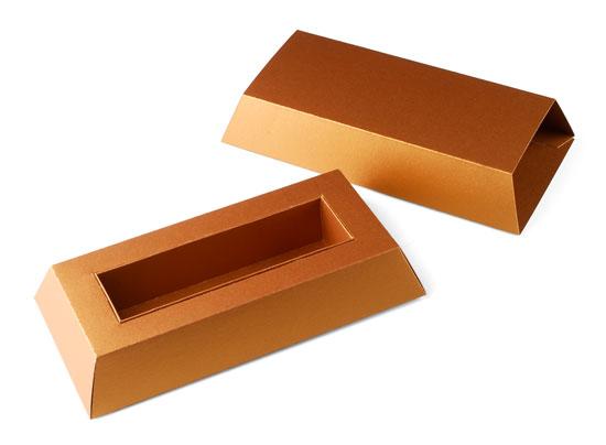 Bo te chocolats en carton en forme de lingot - Patron boite en carton rectangulaire ...